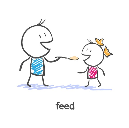 baby and mother: Feed. Dad and daughter