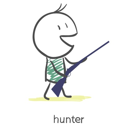 wildlife shooting: Cartoon hunter