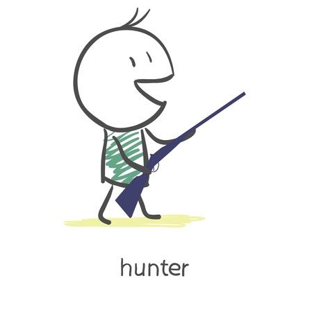rifle: Cartoon hunter