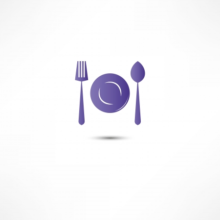 Fork And Spoon And Plate Icon Stock Vector - 16366106