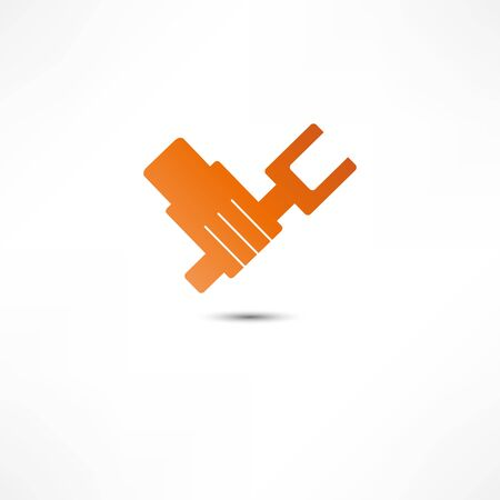 ideograph: Hand With Wrench icon Illustration