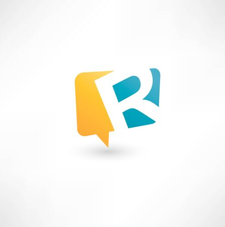 letter r: Abstract bubble icon  based on the letter R