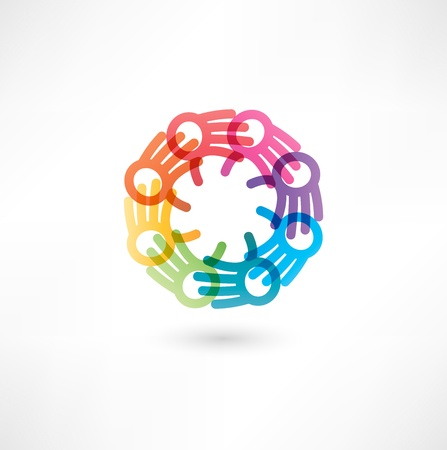 Team symbol. Multicolored hands Vector
