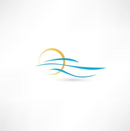 海の波と昇る太陽ベクトル イラスト