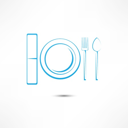 Fork And Spoon And Plate Icon Imagens - 16549855