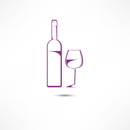 A bottle of wine and a glass icon Stock Vector - 16549844