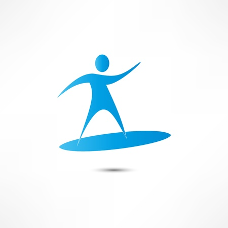 Man On Surf. Icon Vector
