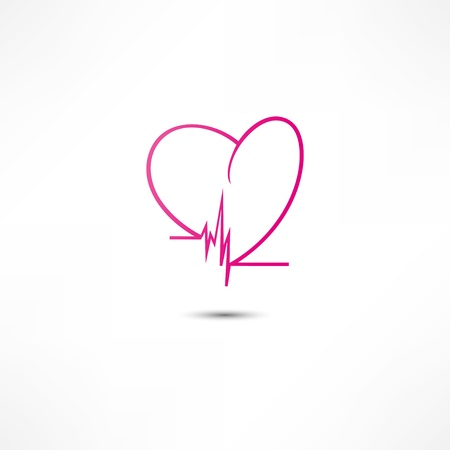 listening to heartbeat: Cardiogram Icon Illustration