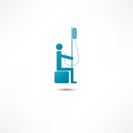 intravenous: Man and Intravenous dropper icon