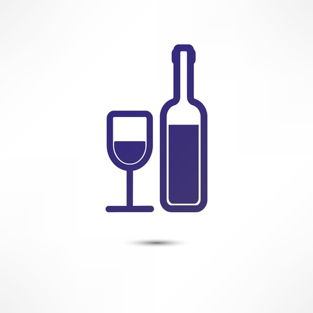 A bottle of wine and a glass icon Stock Vector - 16795639