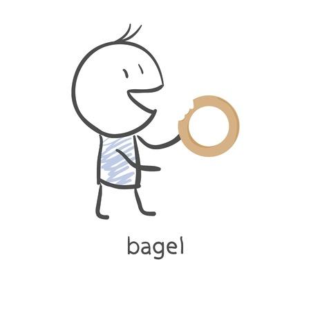 boublik: Cartoon guy eats a bagel