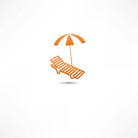 Sunbed and umbrella Icon