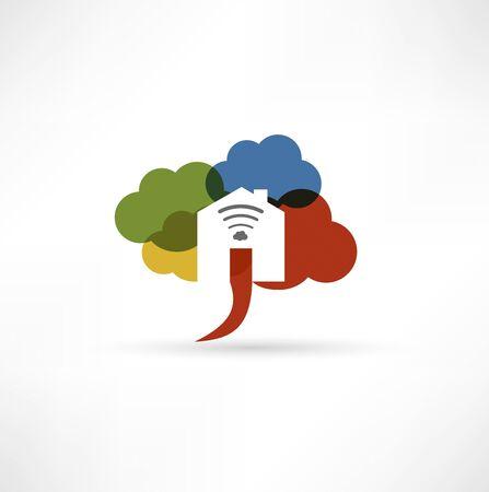 Cloud wi-fi home icon