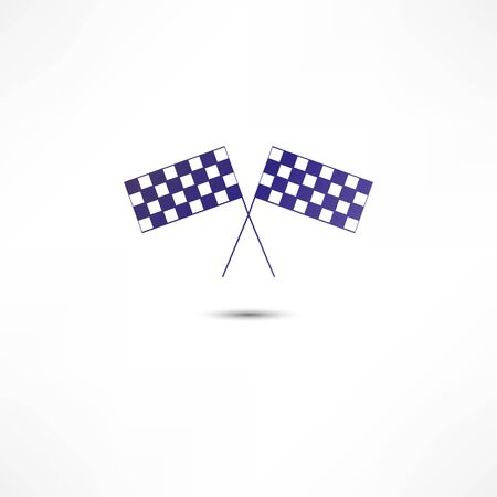 formula one car: crossed racing flags icon Stock Photo