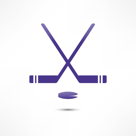 puck: Hockey Stick And Puck Icon Stock Photo
