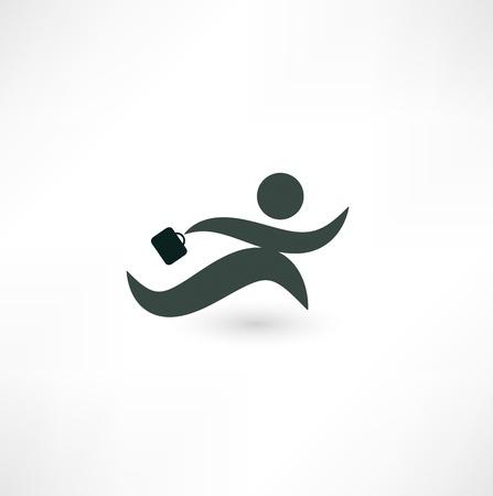 haste: Running businessman icon Stock Photo