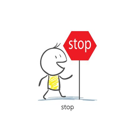 Man To Stop Sign Stock Photo - 16836519