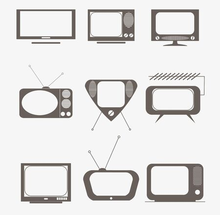 tv station: retro tv icons set Stock Photo