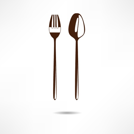 place setting: Spoon and fork Illustration