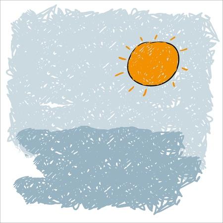 rising sun: las olas del mar y el sol naciente