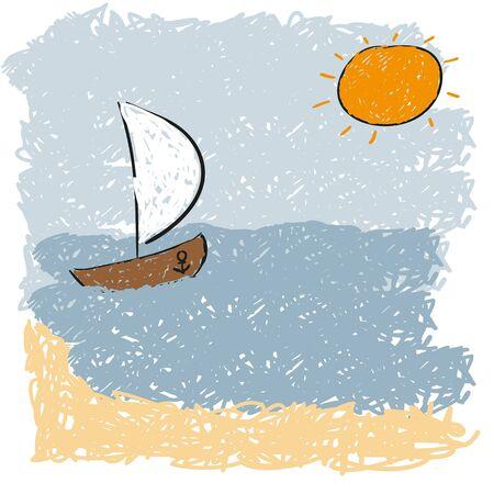 rising sun: las olas del mar y sol naciente Vectores