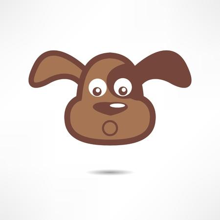 brown and black dog face: Surprised dog. Illustration