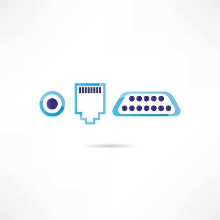 ethernet cable: Computer connectors icon Illustration