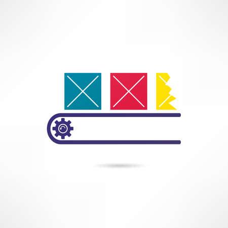 cinta transportadora: Producción icono de línea