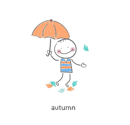 Un homme sous un parapluie Illustration Banque d'images - 17814002