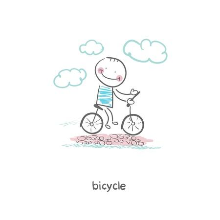 A man rides a bicycle  Illustration  Illustration