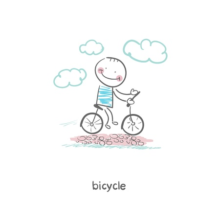 mountain biker: A man rides a bicycle  Illustration  Illustration