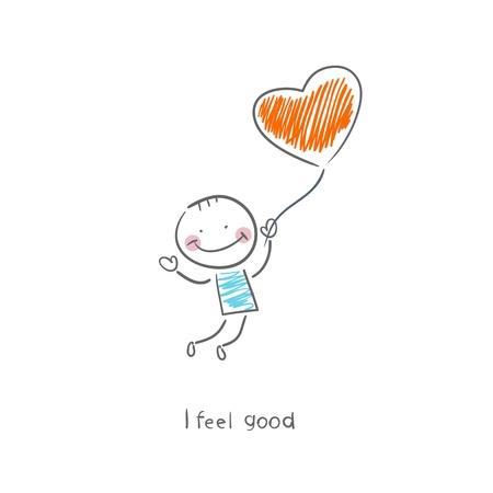 Man hält einen Ballon in der Form von Herzen Illustration