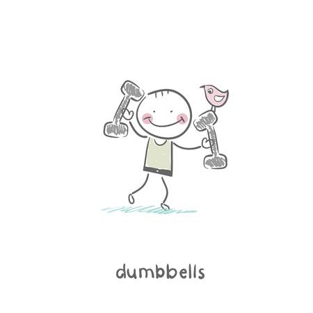 Man lifts dumbbells. Illustration. Illustration