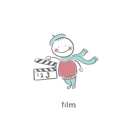 slate: Blank Film slate or clapboard. Illustration.