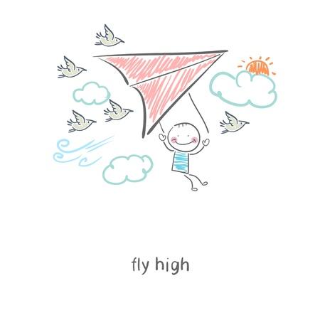 Uomo volante un deltaplano. Illustrazione.