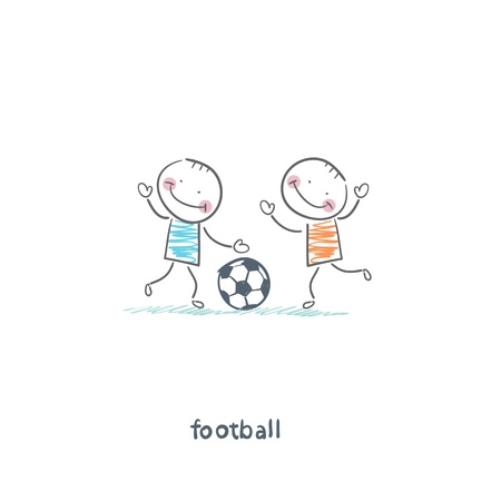 soccer goal: The boys are playing football. Illustration.