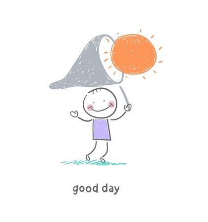 Man catches the sun. Illustration. Illustration