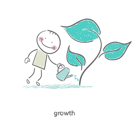 Man watering a plant. Illustration. Vettoriali