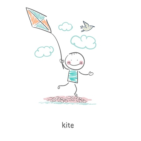 A man with a kite. Illustration. Vector