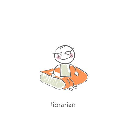 literary man: Librarian. Illustration.