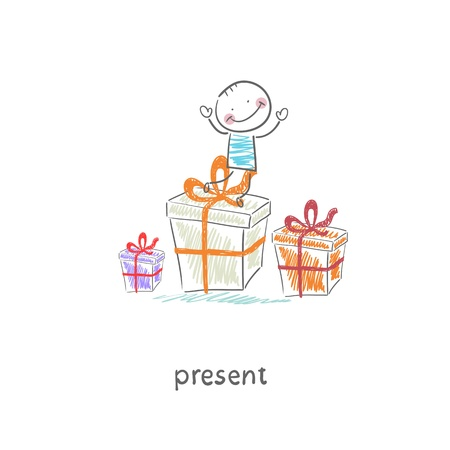 A man and a gift  Illustration  Vector