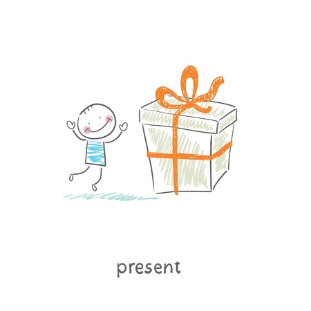 big boxes: A man and a gift  Illustration  Illustration
