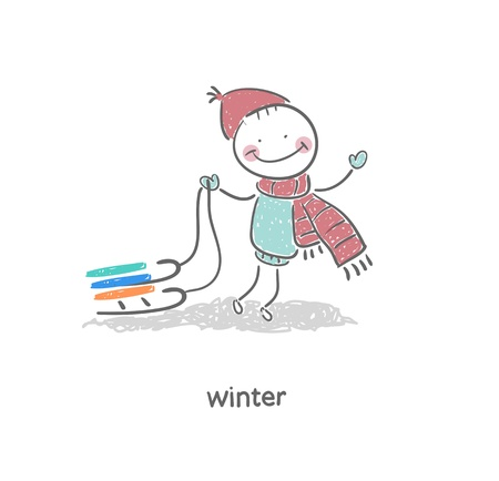 Man and sleigh  Illustration  Vector