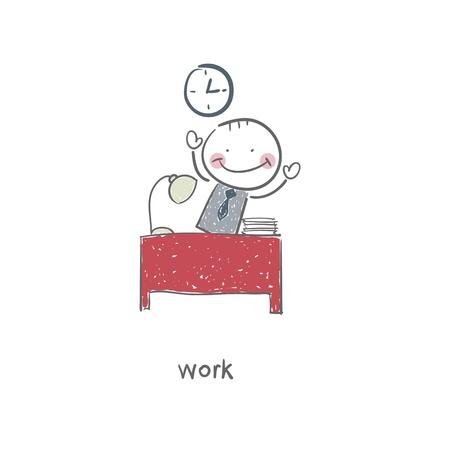 3d manager: The man at the desk  Illustration  Illustration