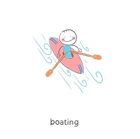 A man in a kayak  Illustration