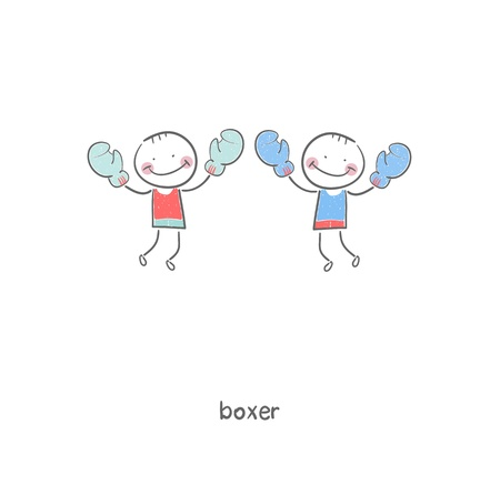 boxing ring: Boxers  Illustration
