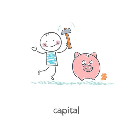 Man breaks piggy bank with a hammer  Illustration  Vector