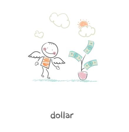 Money tree and angel  Illustration  Vector