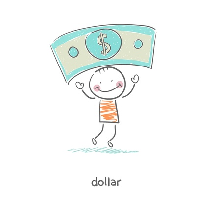 money rain: Man and money  Illustration