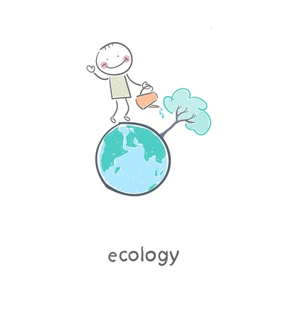 The concept of ecological restoration  A man watering a tree  Illustration  Vettoriali